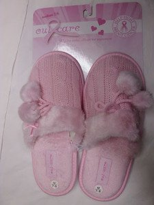 CUTE PINK KNITTED WARM SLIPPERS COMFY SOFT Sz 7-8 WOMEN'S HSE NON-SLIP SHOES NEW