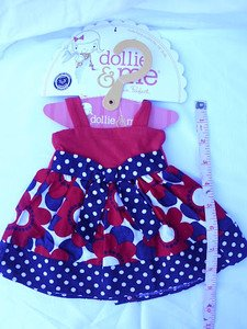 """CUTE DOLLIE and ME / AMERICAN GIRL DOLL DRESS OUTFIT fits ANY 18"""" DOLL GARMENT B"""