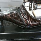 VIXEN VIA PIELLA 9M SHINY CROC LOOK WOMEN'S SHOES D/BRONZE SLIPON PUMPS NIB