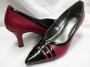 VIA PIELLA POINTY TOE WOMEN'S SHOES 6M CLASSY PUMPS HEELS RED/BLACK NEW