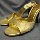 GOLD LEATHER CHINESE LAUNDRY WOMENS KITTEN HEEL PUMP STILETTO SHOES 6.5 NEW