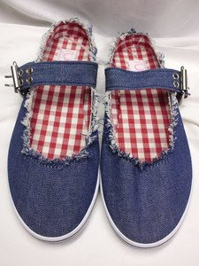 SEXY SUGAR DESIGNER MARY JANE WOMEN'S FLAT DENIM SHOES BLUE SIZE 7 NEW