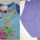 DISNEY FAIRIES SLEEP WEAR sz 4 PURPLE FIRE RESISTANT PAJAMAS TSHIRT PANT JAMMIES