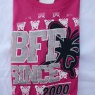 BFF GIRLS GLITTER TSHIRT SIZE 10/12 M RED T-SHIRT BY ABOOS 100% COTTON NWT