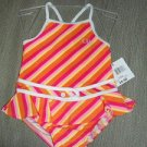 CUTE 1 PC OP 18M TODDLER SWIMSUIT PINK/ORANGE STRIPES 22.5-26lbs NWT