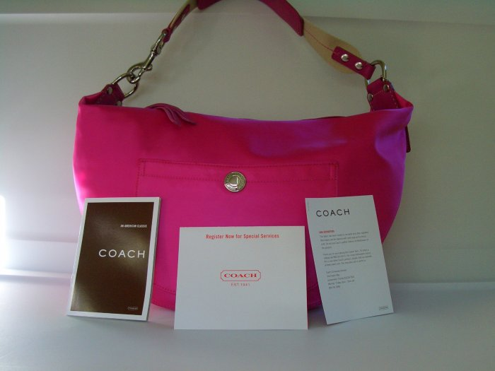 NWT COACH HAMPTONS PINK WEEKEND HOBO BAG