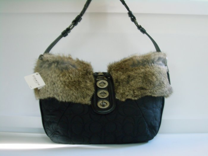 NWT COACH QUILTED BLACK RABBIT FUR BAG