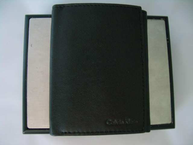 Authentic Calvin Klein men's black trifold wallet