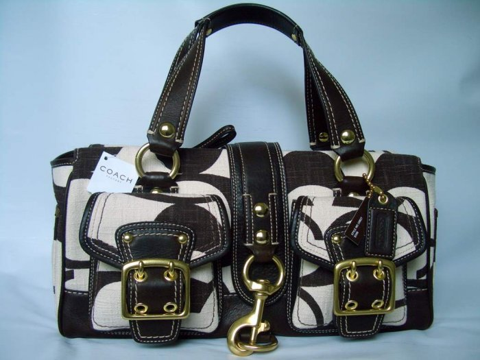Authentic Coach Legacy Cotton Signature Satchel Handbag