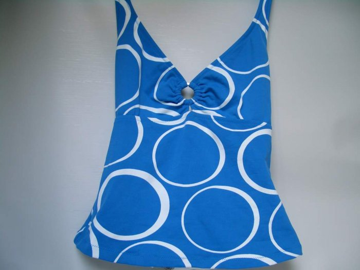 BANANA REPUBLIC HALTER TAN TOP XS BLUE AND WHITE