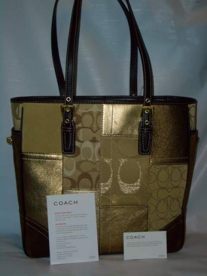 Coach Holiday Gold Patchwork Book Tote