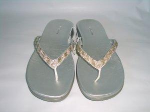 Silver Embellished Thong Sandal