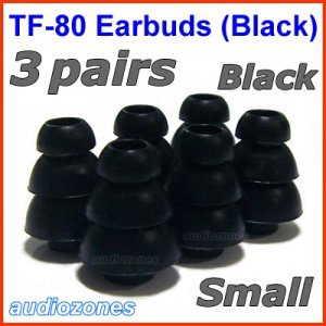 Small Replacement Triple Flange Ear Buds Tips Cushions for Shure In-Ear Earphones Headphones @Black