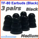 Medium Replacement Triple Flange Ear Buds Tips Cushion for Etymotic In-Ear Earphone Headphone @Black