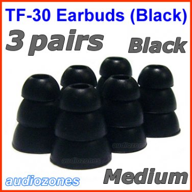 Medium Replacement Triple Flange Ear Buds Tips Cushion for V-MODA In-Ear Earphones Headphones @Black