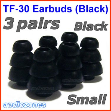 Small Replacement Triple Flange Ear Buds Tips Cushions for V-MODA In-Ear Earphones Headphones @Black