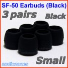Small Ear Buds Tips Cushions Pads for Sennheiser MM 50 iP iPhone MM 200 30i 70i 80i Travel @Black