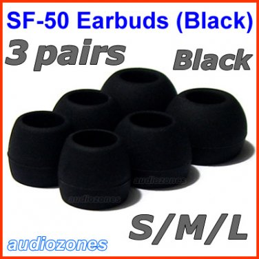 Replacement Ear Buds Tips Cushions Pads for Sennheiser MM 50 iP iPhone 200 30i 70i 80i Travel @Black