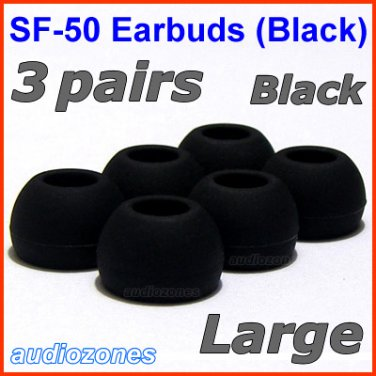 Large Ear Buds Tips Cushions Pads for Creative EP-650 EP-660 EP-600 EP-830 EP-630 EP-630i @Black