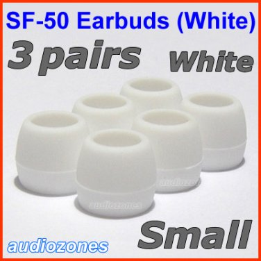 Small Ear Buds Tips Cushions Pads for Sennheiser MM 50 iP iPhone MM 200 30i 70i 80i Travel @White