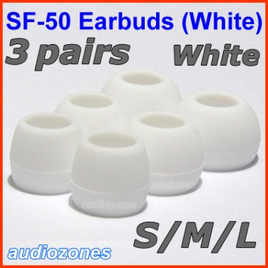 Replacement Ear Buds Tips Cushions Pads for Sennheiser MM 50 iP iPhone 200 30i 70i 80i Travel @White