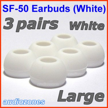 Large Ear Buds Tips Cushions Pads for Creative EP-650 EP-660 EP-600 EP-830 EP-630 EP-630i @White