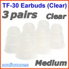 Medium Triple Flange Ear Buds Tips Pad Cushion for Audio-Technica In-Ear Earphones Headphones @Clear