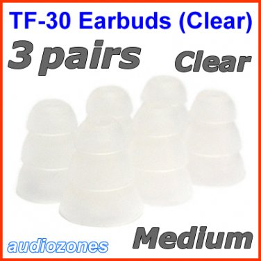 Medium Triple Flange Ear Buds Tips Pads Cushions for JLab JBuds In-Ear Earphones Headphones @Clear
