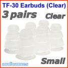 Small Triple Flange Ear Buds Tips Cushions Sleeves for JAYS a-JAYS t-JAYS 1 2 3 4 Headphones @Clear