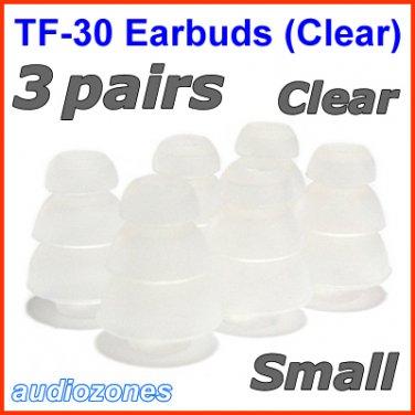 Small Triple Flange Ear Buds Tips Cushions Sleeves for JAYS a-JAYS t-JAYS 1 2 3 4 Headphones @Clear