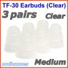 Medium Triple Flange Ear Buds Tips Cushions Sleeves for Creative In-Ear Earphones Headphones @Clear
