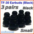 Small Triple Flange Ear Buds Tips Cushions Sleeves for Creative In-Ear Earphones Headphones @Black
