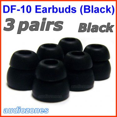 Double Flange Ear Buds Tips Pads Cushions Sleeves for JAYS a-JAYS t-JAYS 1 2 3 4 Headphones @Black