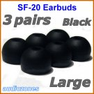 Large Replacement Ear Buds Tips Pads Cushions for Sony XBA-1 XBA-1iP XBA-2 XBA-2iP Headphones @Black