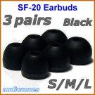 Replacement Ear Buds Tips Pad Cushions for Sony XBA-1 XBA-1iP XBA-2 XBA-2iP In-Ear Headphones @Black