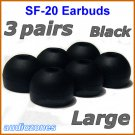 Large Replacement Ear Buds Tips Pads Cushions for Sony XBA-3 XBA-3iP XBA-4 XBA-4iP Headphones @Black