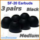 Medium Ear Buds Tips Pads Cushions for Sony XBA-10 10iP XBA-20 20iP XBA-30 30iP XBA-40 40iP @Black