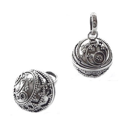 14mm Bali Beehive Design 925 Sterling Silver Harmony Ball Pendant (PT 34043-S)