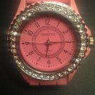 Pink silicone watch with CZ