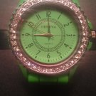 Green silicone watch with CZ