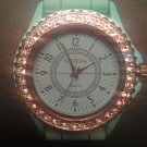 Teal silicone watch with CZ