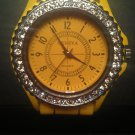 Yellow silicone watch with CZ