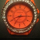 Orange silicone watch with CZ