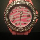 Pink zebra silicone watch with CZ