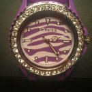 Purple zebra silicone watch with CZ