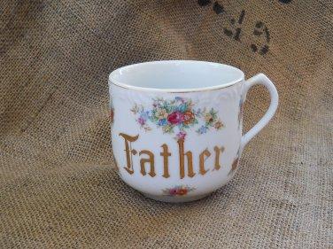 Vintage Father Mug | Cup Made in Japan | Gilded | 1940's | Porcelain