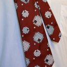 "1960s J/J Classics Dark Red with Geometric Pattern 54"" Wide Necktie- FREE SHIPPING"