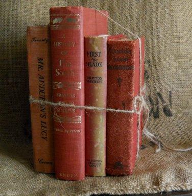 Vintage Book Bundle  | Red | Decor | Prop | Movie Set | Craft