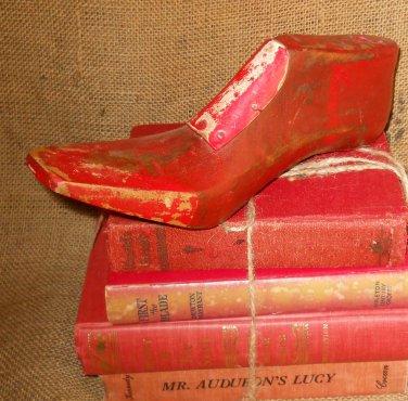 Red Shoe Form Cobbler Last Old Shoemaker Tool Photo Prop Home Decor Christmas