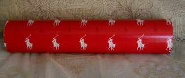 POLO Gift Wrap Logo Red Designer Wrapping Paper Genuine Drawer Liner Christmas Holiday